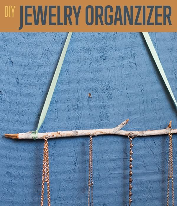 DIY Jewelry Organizer idea you'll love! This DIY necklace holder is easy to make, and beautifully simple. Make a rustic jewelry hanger from a tree branch.