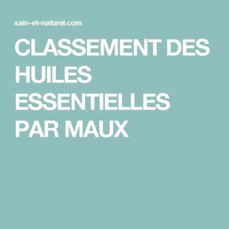CLASSEMENT DES HUILES ESSENTIELLES PAR MAUX – Claudia Rousier