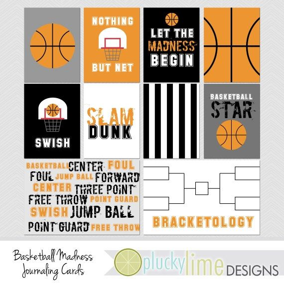 Basketball March Madness Digital Scrapbooking Journaling Cards Project Life INSTANT DOWNLOAD Sports Team Ball