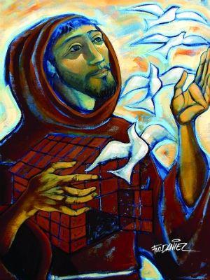 Exposição tem pinturas em homenagem a São Francisco de Assis (Foto: Reprodução)