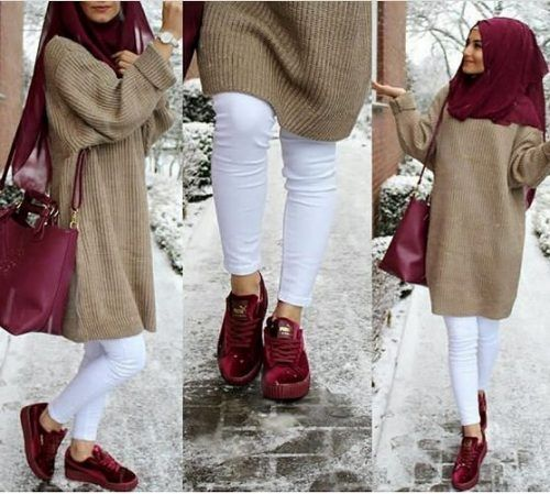 Hijab fashion clothing in camel and maroon shades – Just Trendy Girls
