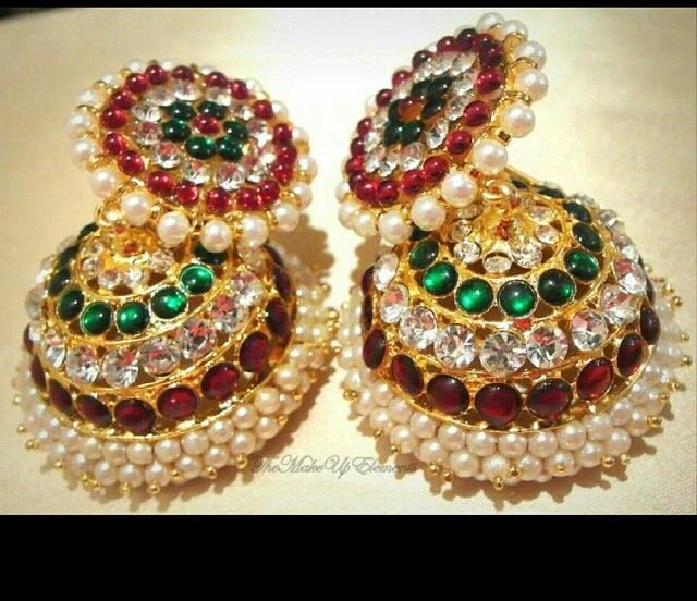 Indian Earrings Red and Green