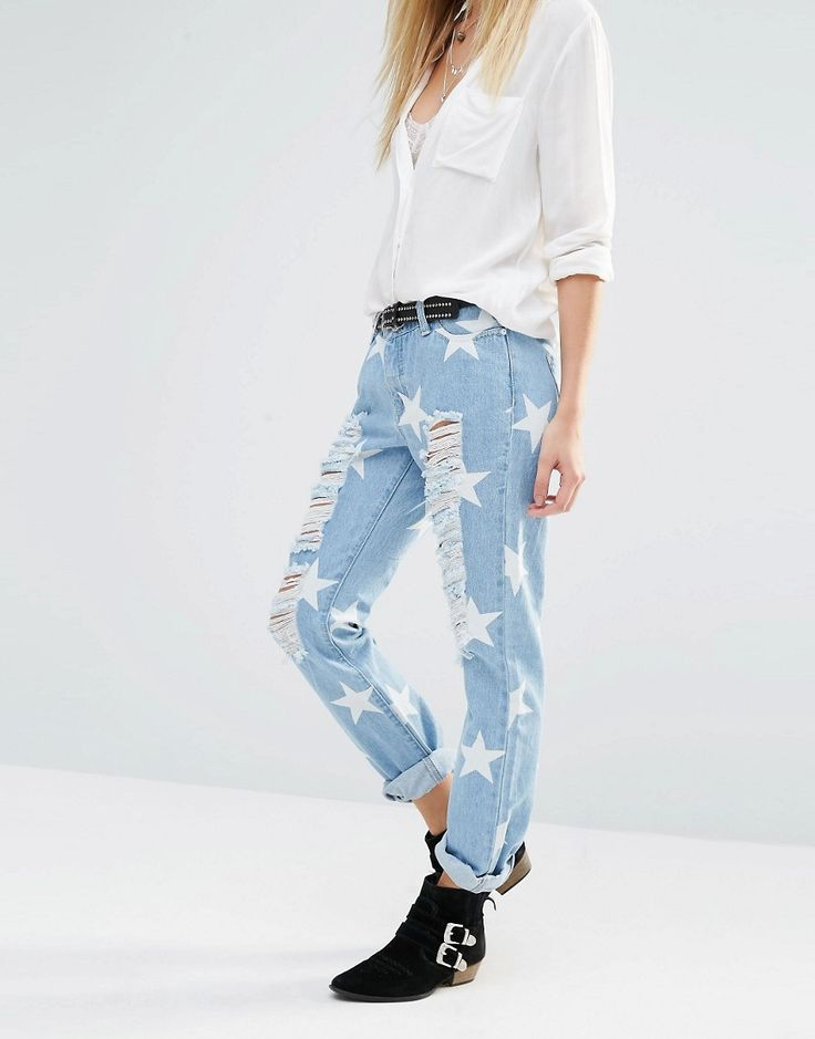 Noisy May Girlfriend Ankle Grazer Jeans With All Over Rips & Stars