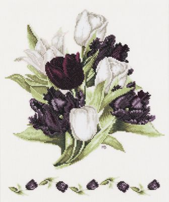 Black Tulips Cross Stitch Kit By Marjolein Bastin for Lanarte I've stitched the small version of this design and would love to do the larger one at some time