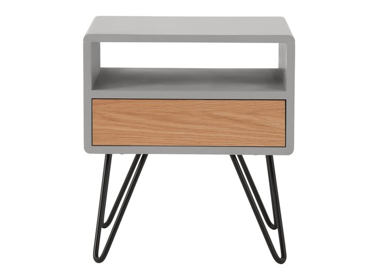 Ukan Bedside Table, Grey and Oak