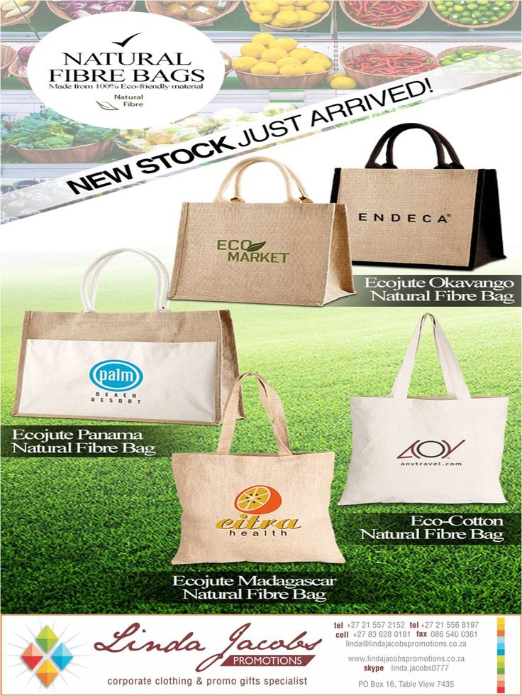 Natural Fibre bags just arrived. Be eco friendly and have these branded with your corporate logo contact us for quote - linda@lindajacobspromotions.co.za 021 5572152 0836280181 www.lindajacobspromotions.co.za ‪#‎brandedecobags‬