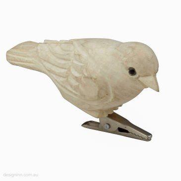 Sparrow Carved Wood 9cm