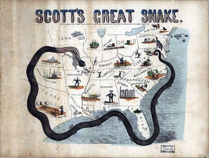 """General Scott's """"Anaconda Plan"""" 1861. Tightening naval blockade, rebels out of Missouri along Mississippi River, Kentucky Unionists sit on the fence, idled cotton industry illustrated in Georgia"""