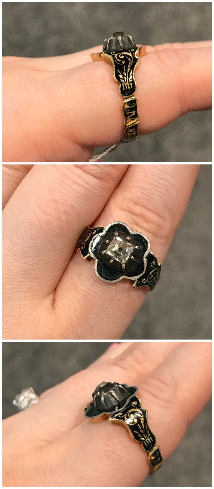 A spectacular, unusual antique mourning ring with a table cut diamond. From Platt Boutique.