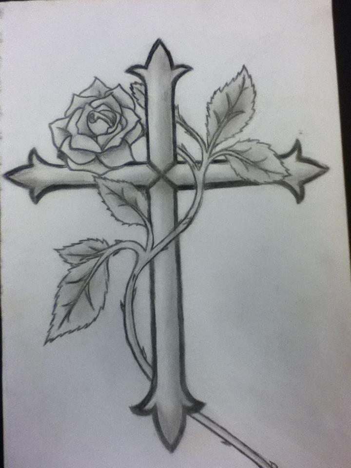 Cross and Rose tattoo by AnimeVampLuver.deviantart.com on @deviantART