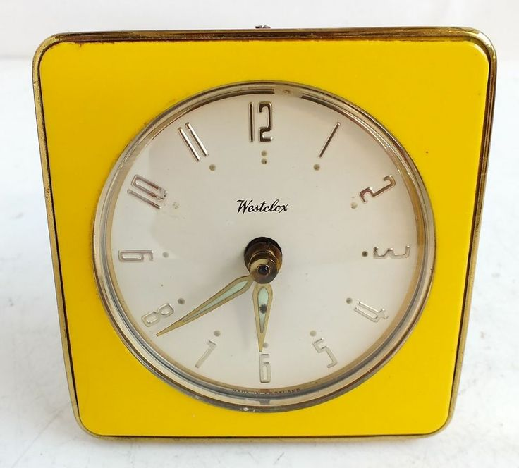 Retro Vintage White Gold Yellow Westclox Square Bedside