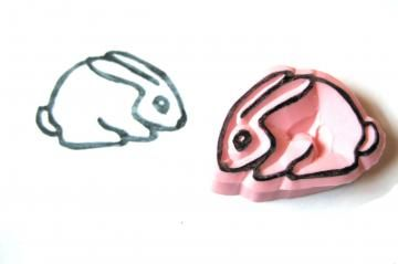 Little Bunny Hand Carved Stamp, Bunny Handmade Rubber Stamp by SweetSpotStampShop for $4.99