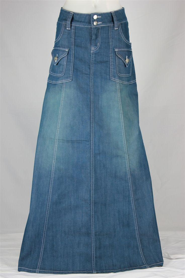Modest Chic Long Denim Skirt, Sizes 6-18 from The Skirt Outlet
