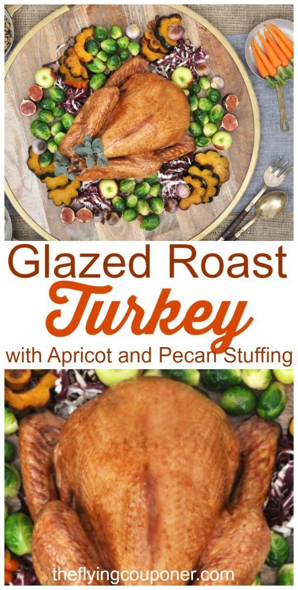 Festive Glazed Roast Turkey Recipe. Perfect for all your holiday meals. Easy recipe ideas on a small budget. The Flying Couponer.