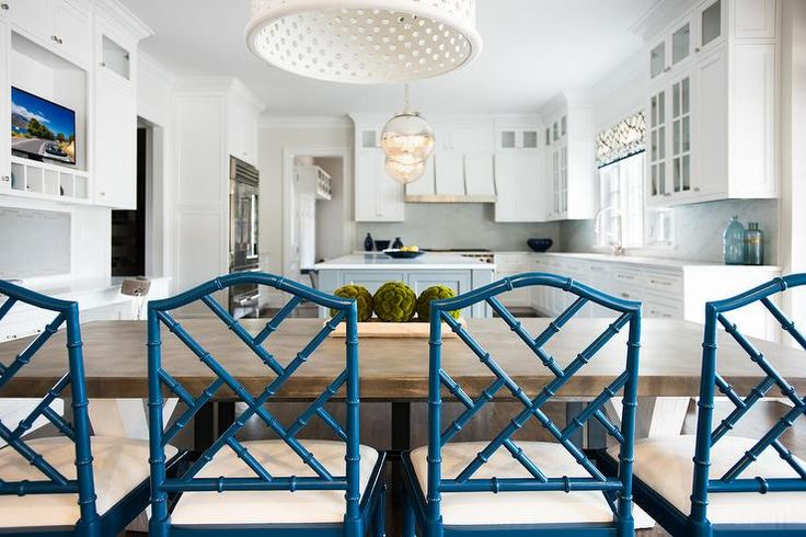 Blue bamboo dining chairs