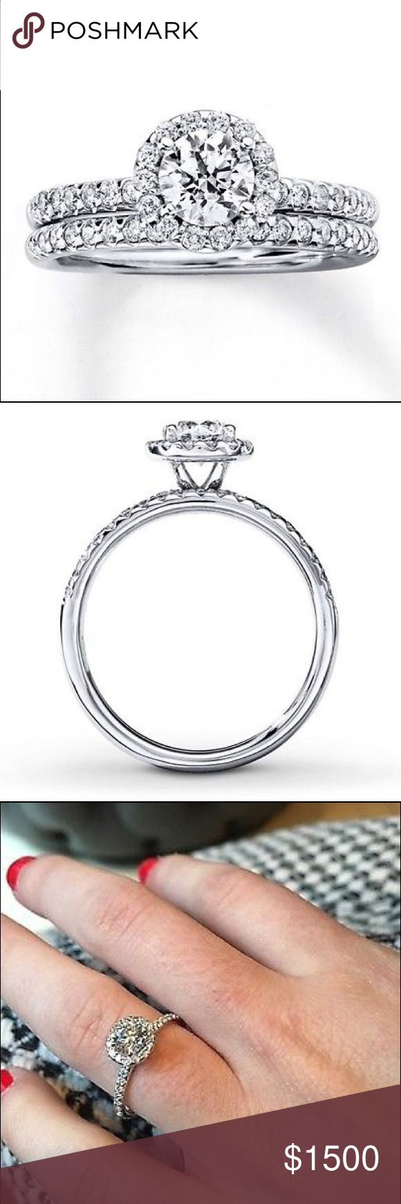 SALE Sterling Jewelers .9 ct  14K White Gold Ring Absolutely stunning round cut halo diamond ring. Real stones. Appraises for $3000. Wedding band not included. I'd be happy to answer any questions. Can't wait to find this ring a home. :) offers accepted. Jewelry Rings