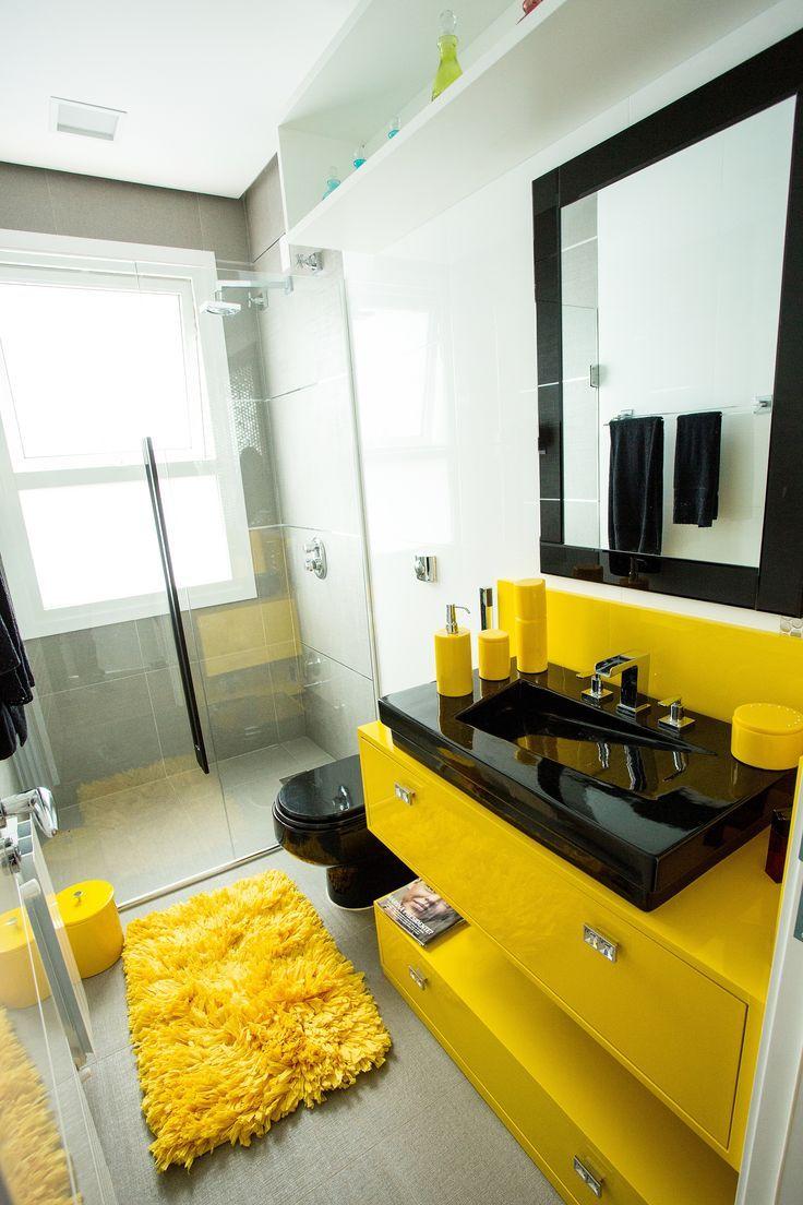 50 Banheiros Coloridos Lindos e Inspiradores - Fotos #banheiro #amarelo #preto