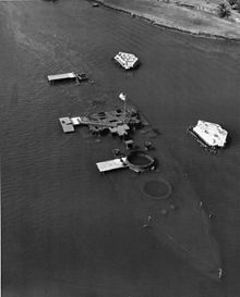 aerial view of the USS Arizona in the 1950's before the memorial was built.