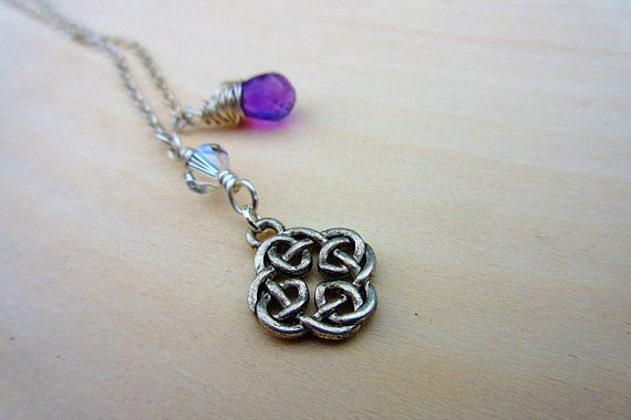 Celtic Knot Lariat. Beaded Lariat Necklace. Amethyst Gemstone