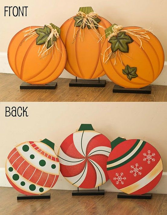 What a great idea to paint fall pumpkins on one side and paint Christmas ornaments on the back. All you have to do is turn them around when the season changes.: Fall Pumpkin, Fall Decoration, Painting Pumpkin, Fall Painting, Paint Pumpkin, Christmas Painting Idea, Christmas Ornaments, Fall Diy Decoration