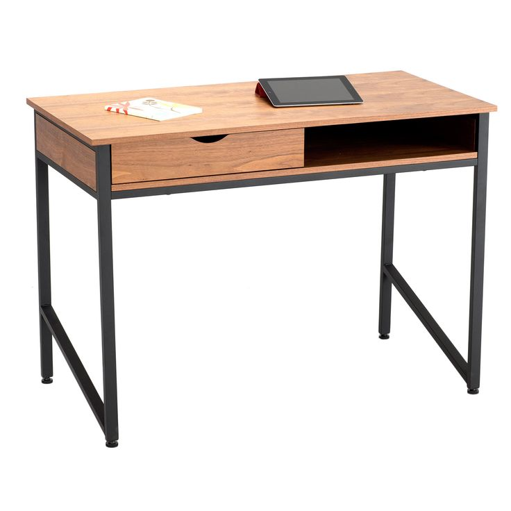 This Modern Studio Desk Comes With A Black Or White Frame And Wooden Veneer Top