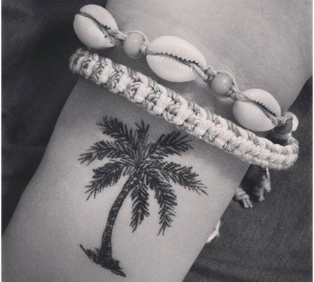 palm tree tattoo. Probably not on my wrist, but it's cute! A good matching design for me and my cousin?
