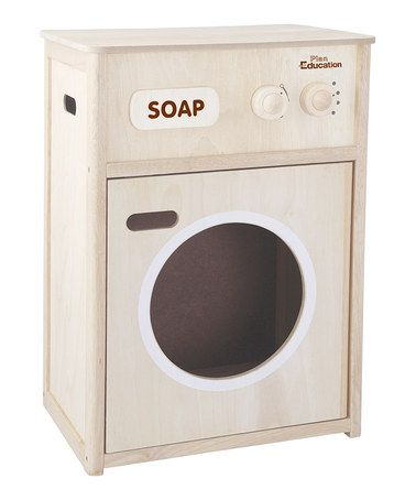 wooden washing machine toy natural 1
