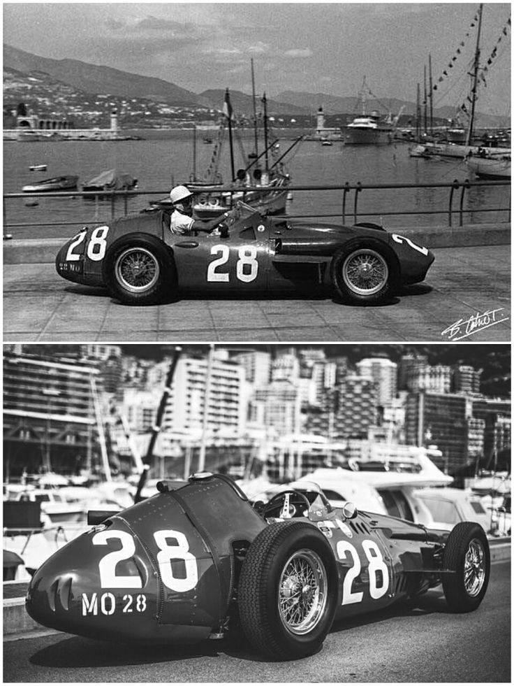 """Stirling Moss powered his Maserati 250F to his first Monaco victory at the 1956 Monaco Grand Prix,  ahead of Juan Manuel Fangio's Ferrari D50 in P2  and Jean Behra's Maserati in P3.  Moss, who has been described as """"the greatest driver never to win the World Championship,"""" went on to win Monaco two more times, in 1960 and 1961, and is considered one of the finest Grand Prix drivers of the post war era."""