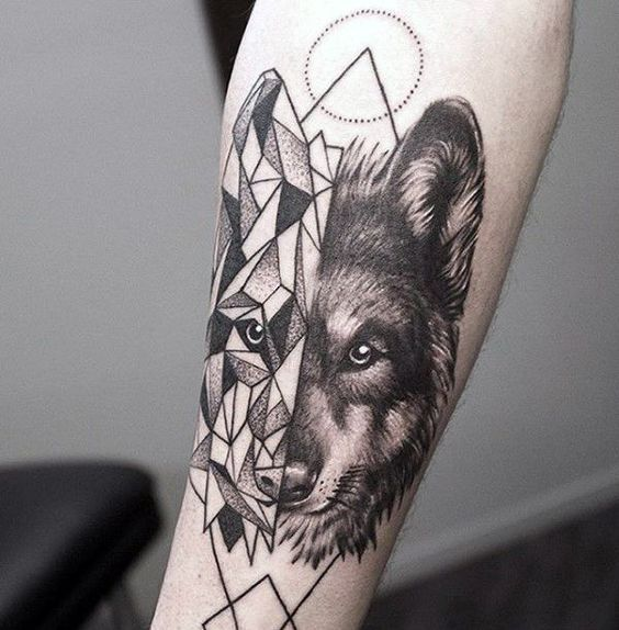 Best Geometric Tattoo - Mens Geometrical Wolf Tattoo On Forearm...