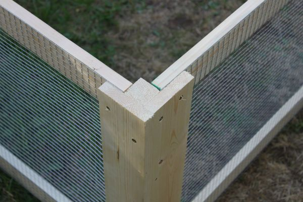 DIY Chicken Coop Corner - also useful for raised bed animal protection.... and squash borers?