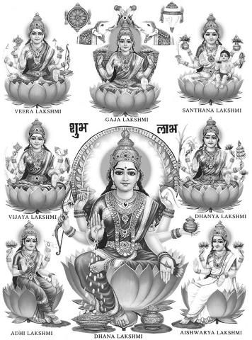 According to Hindu mythology, Lakshmi is the goddess of wealth, fertility and beauty. Goddess Lakshmi is the daughter of goddess Durga. There are nine appellations of goddess Durga and eight appellations of goddess Lakshmi. These eightfold forms of goddess Laksmi are termed as Ashta-Lakshmi. Lakshmi is also regarded as Mother Goddess when it comes to giving wealth in 16 forms namely intelligence, victory, knowledge, strength, valor, fame, ambition, health, bliss, happiness.