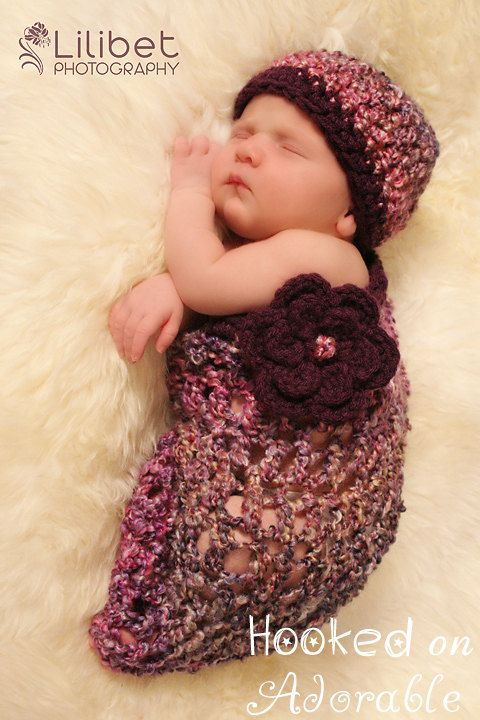 Crocheted baby girl cocoon hat
