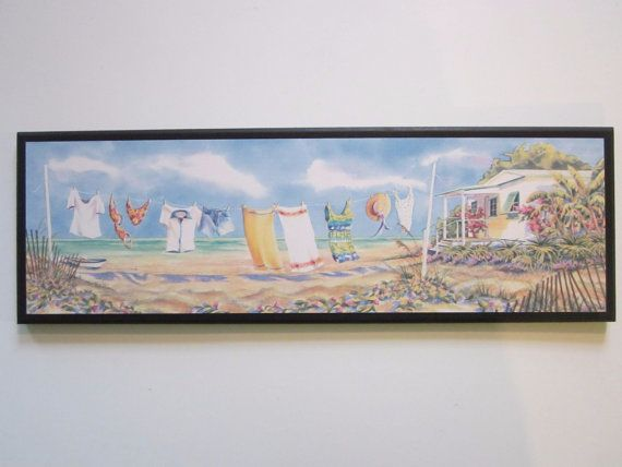 Beach Theme Clothesline laundry room tropical spa style wall