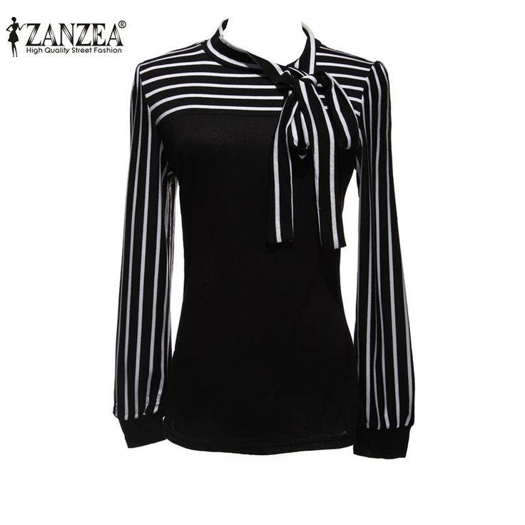Plus Size S-4XL 2017 Hot Sale OL Women Blouse Shirt Spring Fashion Black White Stripe Bowknot Tops Long Sleeve Blusas Femininas