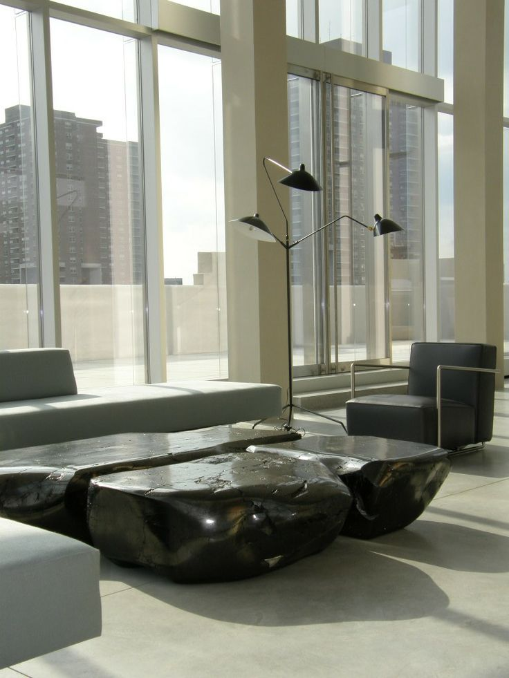 Coal Tables By Jim Zivic In The Ralph Pucci International Showroom, NYC.