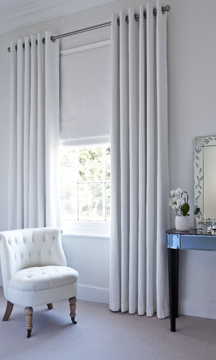 Hillarys And House Beautiful Collection   Islita Ice White Roman Blind And  Curtain