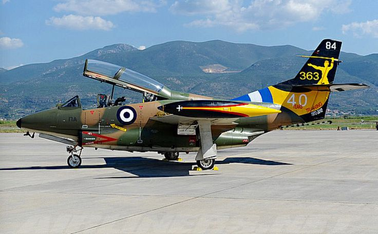 A Hellenic Air Force North American T-2C Buckeye painted in a special commemorative paint scheme.