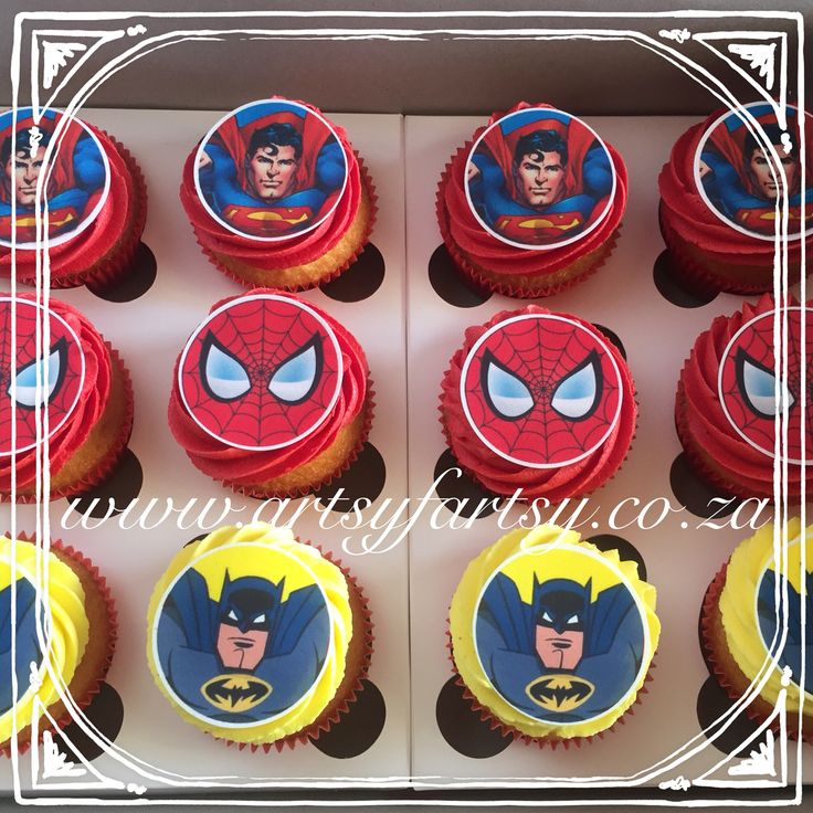 Spider-Man Superman and Batman Cupcakes #superherocupcakes