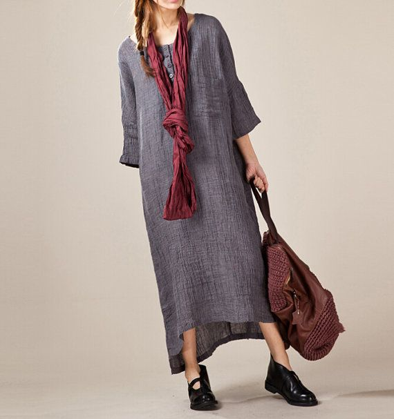 linen Maxi Dress/ Loose Fitting Linen fold Leisure Long dress/ Linen robe