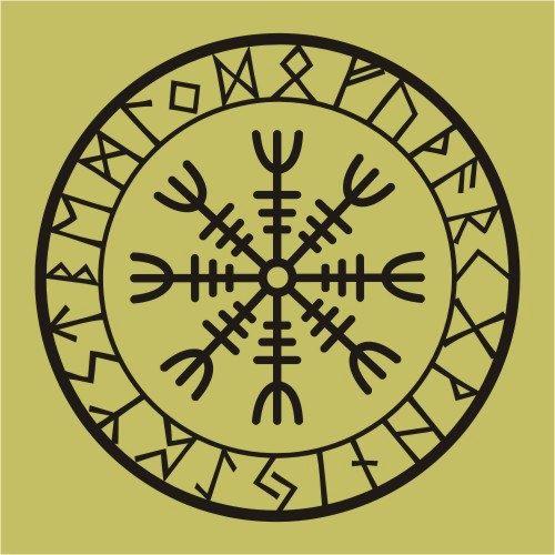 viking protection runes helm of awe talisman black vinyl. Black Bedroom Furniture Sets. Home Design Ideas
