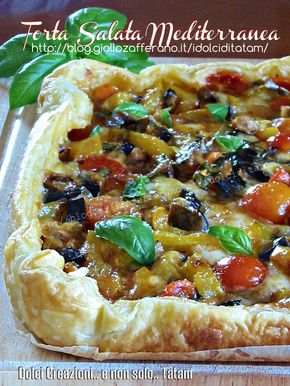 Torta salata mediterranea | ricetta vegetariana senza uova. Mediterranean tart with peppers, aubergines, tomates. Veg recipes without eggs