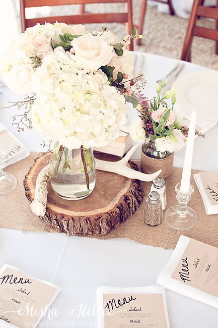 Without the antler. And with blue hydrangeas.. Wedding reception decor. Full wedding on The sTORIbook Blog