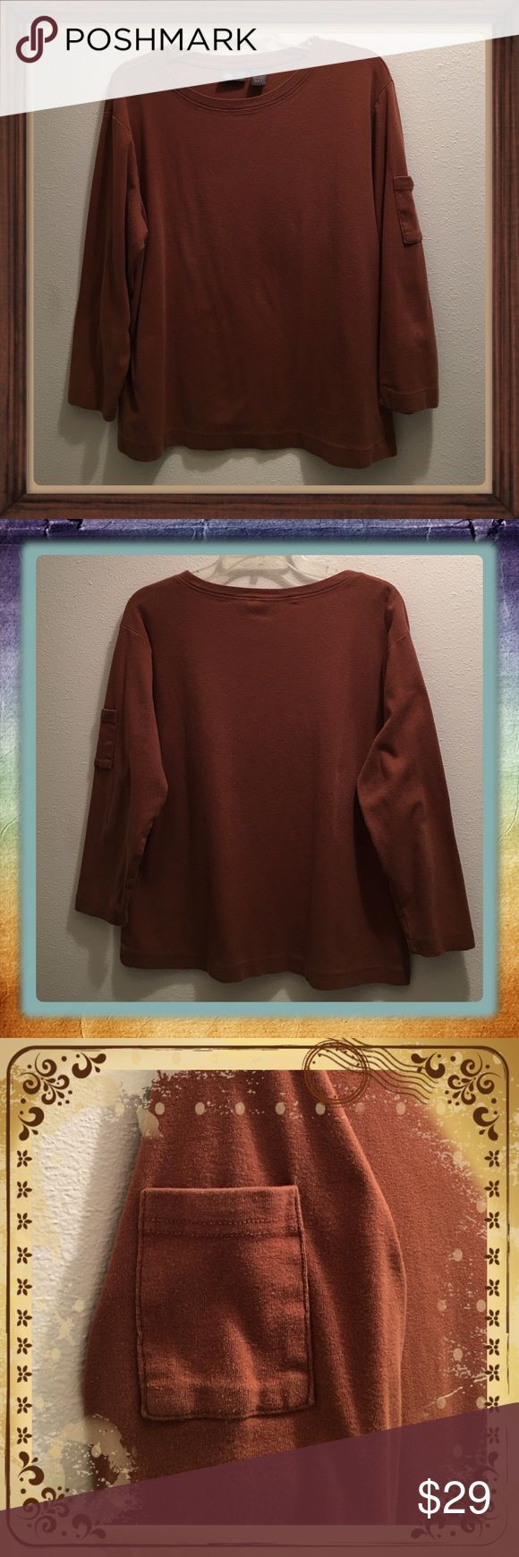 """Additions by Chico Mid Sleeve Top SZ 3 = US XL This top was worn appropriately a 1/2 dozen times before I grew out of it. It's a rust color brown, has a pocket on the Left upper arm. I got so many compliments on it & I believe it's the little pocket on the arm lol. It measures 22.5"""" from Armpit to Armpit & 24""""Long from shoulder to bottom. Chico SZ 3 is a US XL. Additions by CHICO Tops"""