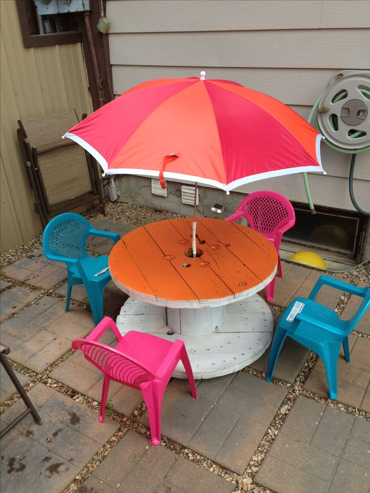 Upcycle old wire spool into a kids table