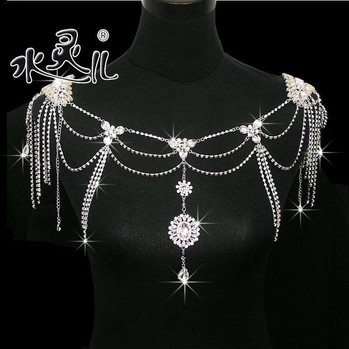 Promotion New Silver Plated Star Flower Crystal Bridal Shoulder Necklace Steampunk jewelry  US $55.00