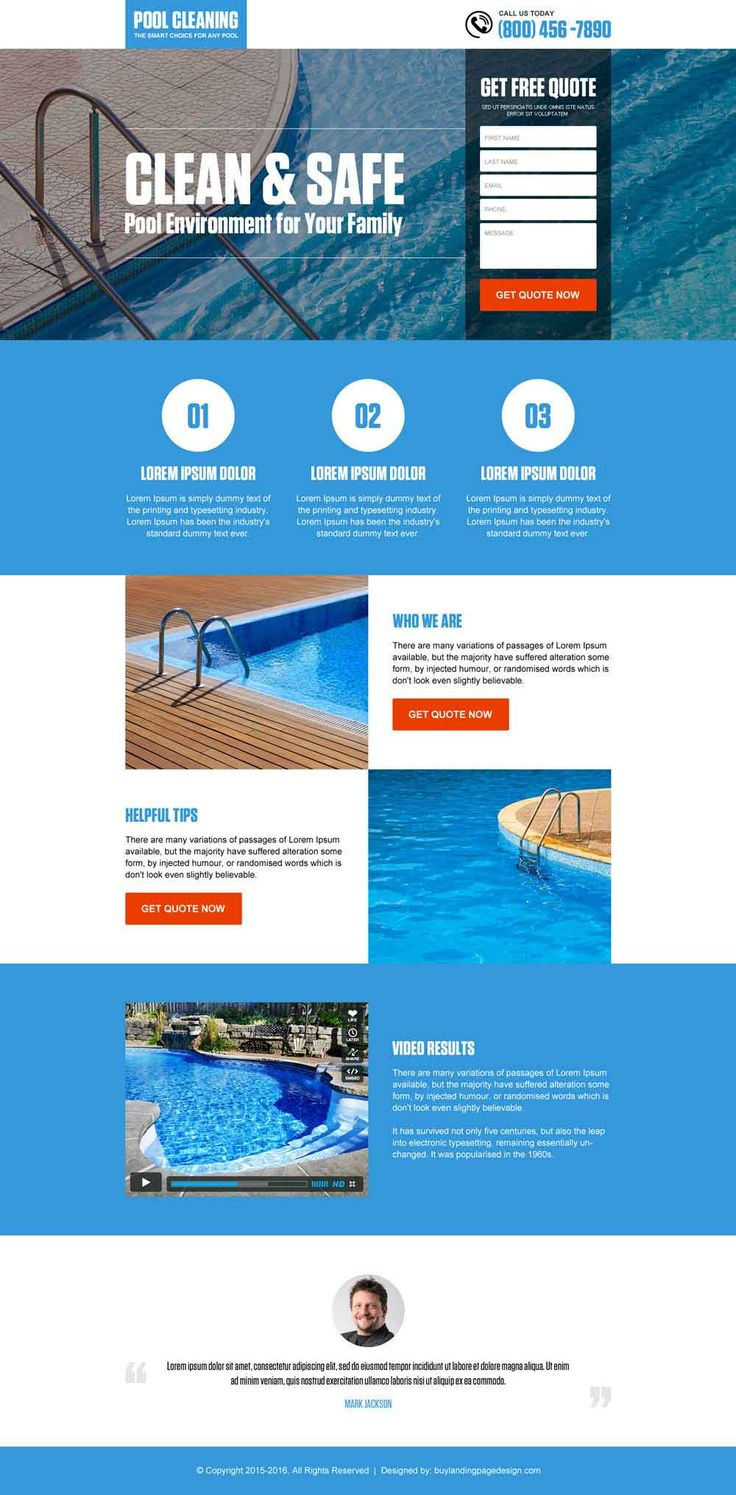 pool cleaning service responsive landing page design