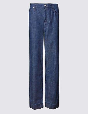 Size 10 Marks & Spencer LIMITED EDITION Wide Leg Ankle Grazer Denim Jeans  | eBay