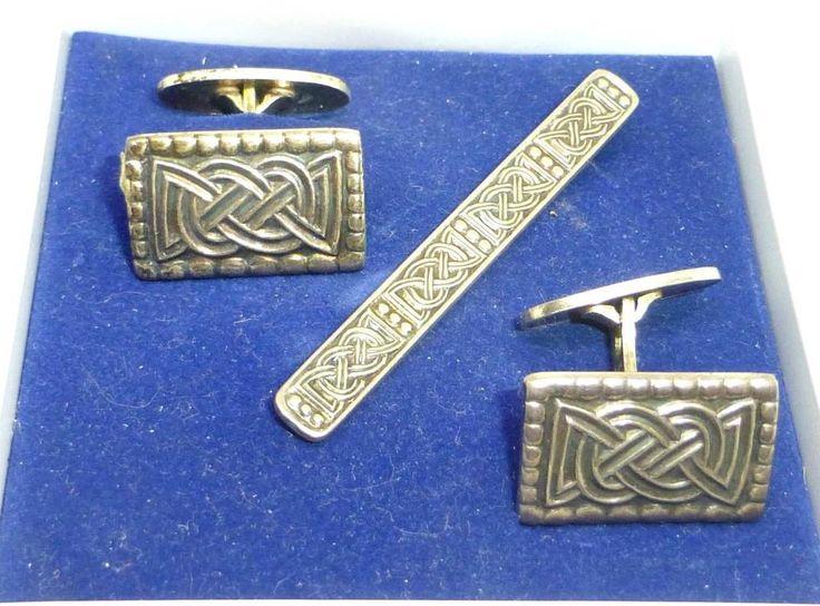 Vintage Sterling David Anderson Norway Men's Cufflinks & Tiebar Celtic Motif