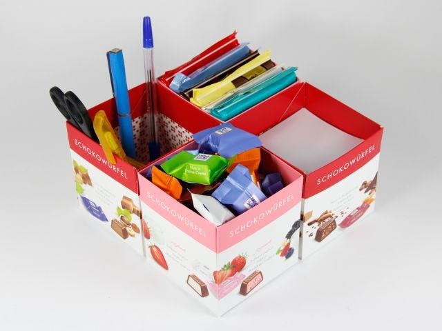 Regal oder Schreibtisch-Organizer - unsere Schokowürfel-Boxen sind quadratisch, praktisch und gut! :)