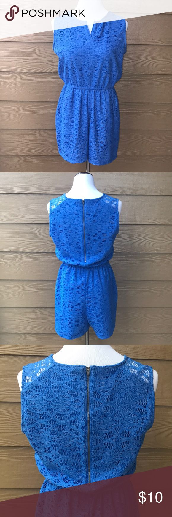 Royal Blue Romper Pockets Crochet Lace V-Neck • Brand: Xhilaration by Target • Size: women's / juniors medium • Material: 100% polyester • Condition: Excellent used condition {no flaws} • V-Neck • Features pockets for extra comfort • Romper with pockets, crochet design, beautiful royal blue Xhilaration Shorts